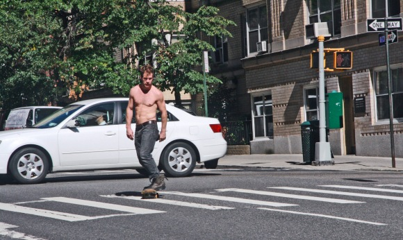 2;45 p.m. Shirtless Skateboarder