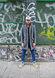 Knicks Cap - David's own, Coat - Luigi Bianchi, Pants - Scotch & Soda, T-Shirt - American Apparel, Shoes - Cole Haan